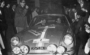 Rallye Luis de Baviera 1970. Reverter en la salida con Julio Leal.
