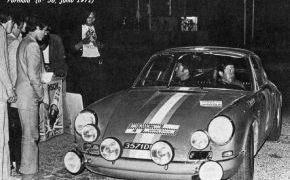 Rallye III Kilómetros nocturnos Alicante (Bujías Bosch). Último rallye disputado por Reverter con el Porsche 911 R. Esn esta ocasión estaba acompañado por Ventura y abandona por rotura del del conjunto grupo cónico / puente trasero.