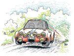 Dibujo del Alpinche durante el Rallye Rias Bajas de 1973 realizado por Phil Luquet