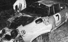 Rallye del Sherry 1975. Accidente de Beny Fernández que supone el fin del Alpinche